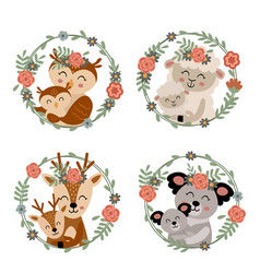 set isolated mother and baby animals 2 vector image