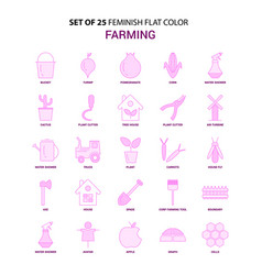 Set of 25 feminish farming flat color pink icon vector