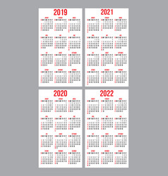 Set of calendar grid for years 2019-2022 vector