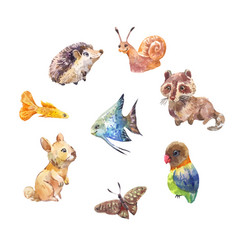 set of cute little wild animals watercolor vector image