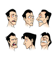 Set of emotions of a young cartoon man on a white vector