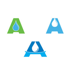set of water drop letter a initial logo template vector image