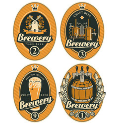 set oval beer labels in retro style vector image