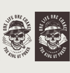 Skull in fedora hat vector