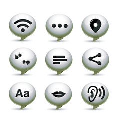 Speech white bubbles with communication icons vector