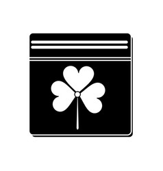 St patricks day calendar clover pictogram vector