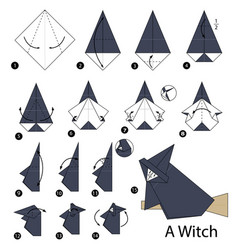 Step instructions how to make origami a witch vector