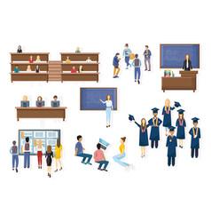 student graduation set collection flat vector image