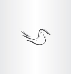 stylized dove icon design element vector image