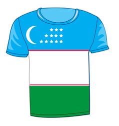 T-shirt flag uzbekistan vector