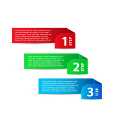 three color steps template with shadow on white vector image