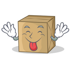 Tongue out cardboard character character vector