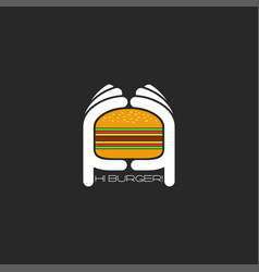 Two hands hold a hamburger logo burger fastfood vector