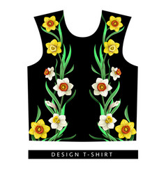 typographical print for t-shirt with daffodils vector image