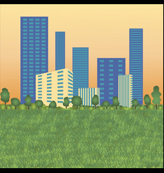 urban landscape with high skyscrapers trees and g vector image