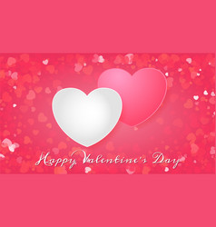 valentines day greeting card with two hearts vector image