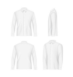 White mens shirt mockup set realistic vector