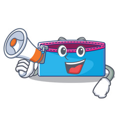 with megaphone pencil case character cartoon vector image