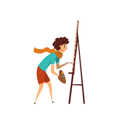 woman artist character drawing on an easel with vector image