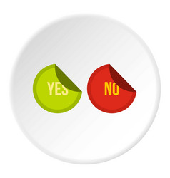 Yes and no buttons icon circle vector