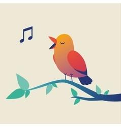 Cute singing bird on branch vector image vector image