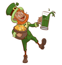 drunk fun patrick holds pot of gold and glass of vector image