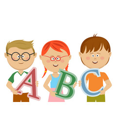 group of little kids holding abc letters vector image vector image