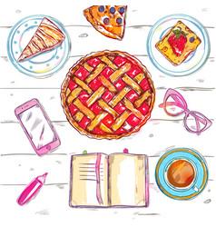 Sketch eat food top view vector