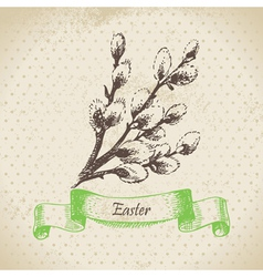 Vintage Easter background with pussy-willow vector image vector image