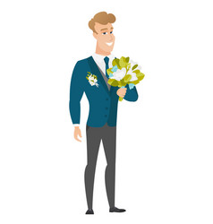 young caucasian groom with a bridal bouquet vector image