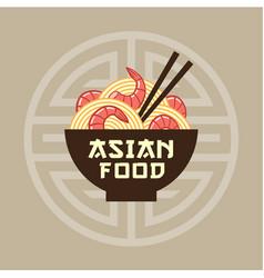 asian food emblem noodles shrimps chopsticks vector image