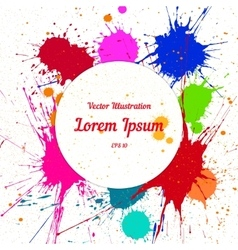 Colorful bright ink splashes over white vector image vector image