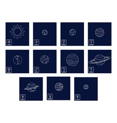 icon set with Planets and astrology symbols of pl vector image