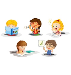 kids studying vector image vector image