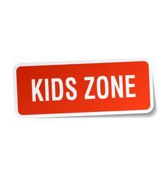 kids zone square sticker on white vector image vector image