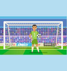 soccer goalkeeper keeping goal on arena vector image