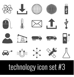 technology icon set 3 gray icons on white vector image