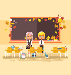 back to school cartoon two vector image vector image
