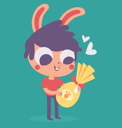 Cute Bunny Boy Holding an Easter Chocolate Egg vector image