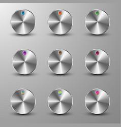 set of metallic buttons vector image