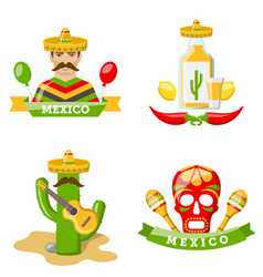 set of mexico icons isolated on white background vector image