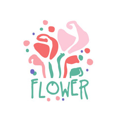 flower logo template colorful hand drawn vector image