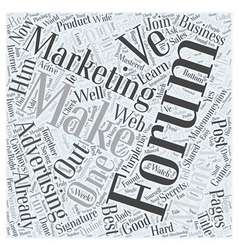 Forum Marketing Advertising Online Word Cloud vector image vector image