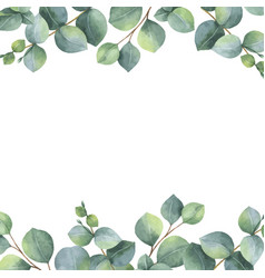 watercolor green floral card with silver vector image