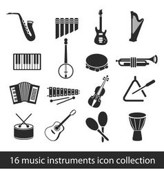 16 music instruments icon collection vector image