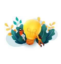 3d business people with big light bulb idea vector image