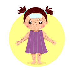 A little girl with rashes vector