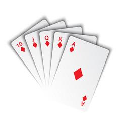 a royal flush diamonds on white background vector image