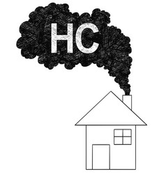 Artistic drawing smoke coming from house vector