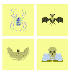 Assembly flat halloween spider bat ghost book vector